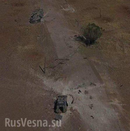 Жуткие кадры: в жестоком бою ВКС и САА сожгли колонну техники боевиков в зоне Идлиб (+ВИДЕО, ФОТО)