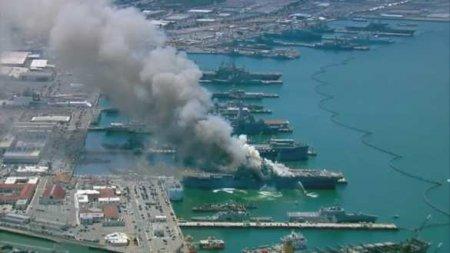 Корабль ВМС США горит больше суток, система пожаротушения была отключена
